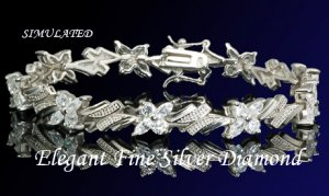 14.10CT FLAWLES PLATINUM DIAMOND SILVER TENNIS BRACELET
