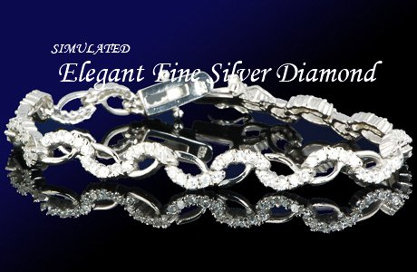 12.80 CT DIAMOND SILVER TENNIS BRACELET 7 1/4