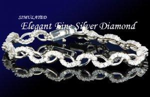 12.80 CT DIAMOND SILVER TENNIS BRACELET 7 1/4