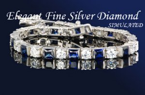 12.80CT FLAWLES PLATINUM DIAMOND SILVER TENNIS BRACELET