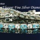 BOLD 16.5 AQUAMARINE W/ DIAMONDS SILVERTENNIS 7 1/4