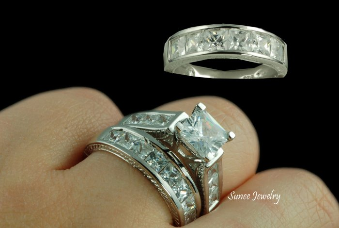 His & Her 3pcs Matching Engagement Wedding Ring Set sz 5-9 in sterling silver