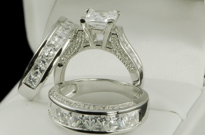 His And Her 3pcs Matching Set Wedding Ring Engagement Ring