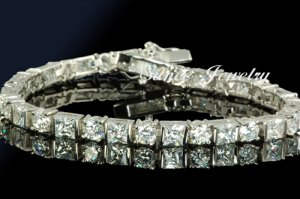 12.80CT FLAWLES DIAMOND SILVER TENNIS BRACELET