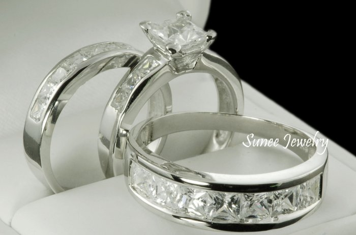 His & Her 3pcs Matching Engagement Wedding Ring Set sz 3-12 in sterling silver
