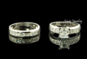 3.25ct Princess Cut Engagement Wedding Ring Set sz 3-12 in sterling silver