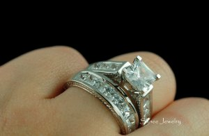 4.0ct Princess Cut Engagement Wedding Ring Set in Sterling Silver sz 5-9