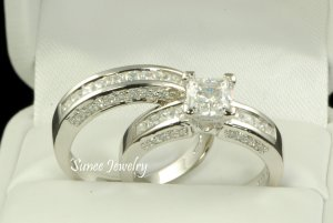 2.53ct Princess Cut Engagement Wedding Ring Set in Sterling Silver sz 5-9