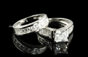 4.35ct Princess Cut Engagement Wedding Ring Set in Sterling Silver sz 5-9