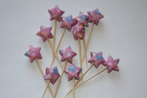 Pink Origami Lucky Stars Party Picks