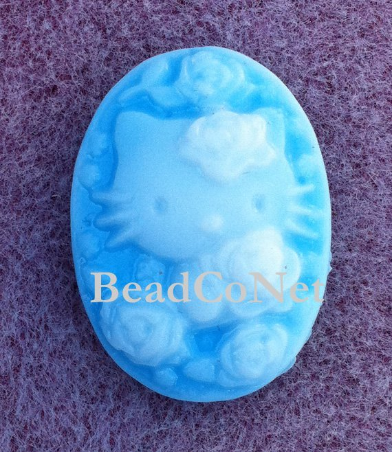 4 Pieces Hello Kitty Flower Cameo Blue Color