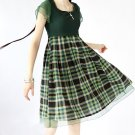 Green Plaid Dress/Vintage Prom dress