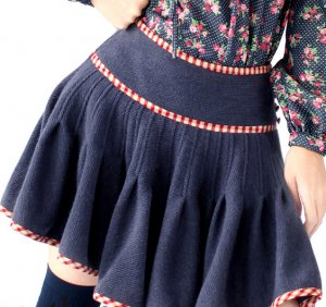 wool pleated blue mini skirt