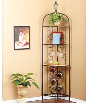 Corner Wine Rack/Racks metal scrollwork Holds 8 bottles