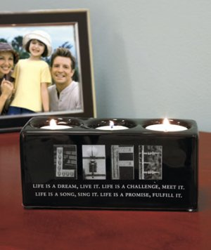 New Sentiment Life Candleholder Block Great Home Decor