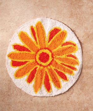 """ Round Rug "" Gerber Daisy Bath Collection"