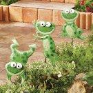 Set of 3 Frog Metal Animal Garden Stakes