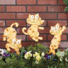 Set of 3 Cat Metal Animal Garden Stakes