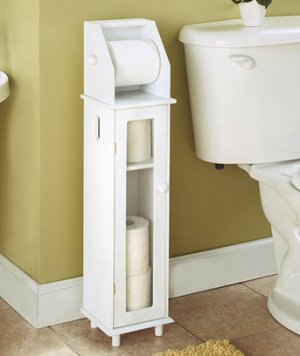 Furniture-Style White Wooden Toilet Roll Storage