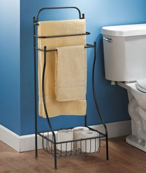 Black Color Floor Standing Towel Rack For Bathroom