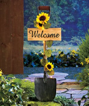 Solar Garden Sunflower Shovel Welcome Stake Sold Out