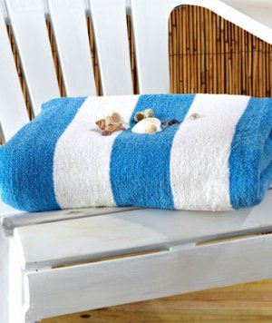 "Blue 50"" x 70"" Cabana Towel for Two"