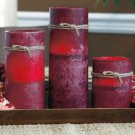Set of 3 Burgundy Battery Operated LED Candles