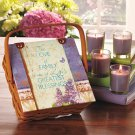 New 5-Pc. Family Candle Gift Set Basket with 4 Candles