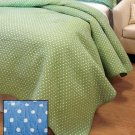 New Pastel Blue Twin Dotted Cotton Bed / Bedding Quilt w/ 1 Sham