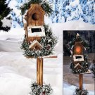 "New 25"" Townhouse Rustic Outdoor Garden Solar Birdhouse w/ Faux Greenery & Snow"