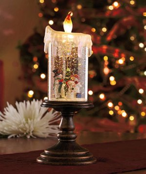 New Battery operated Snowman Lighted Holiday Candle Globe