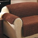 New Chocolate Loveseat Cover Quilted Sueded Furniture Covers