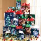 32-Pc. Holiday Gift Bag Set with flat wrap and tissue paper