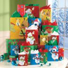 32-Pc. Whimsical Holiday Gift Bag Set with flat wrap and tissue paper
