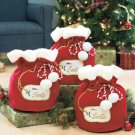 Set of 3 Polyester Santa&#39;s Gift Bags