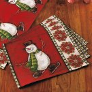 New Holiday Set of 4 Christmas Snowman Tapestry Placemats