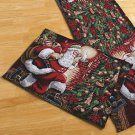 New Holiday Set of 4 Christmas Santa Tapestry Placemats