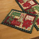 New Holiday Set of 4 Christmas Peace, Love, Joy, Tapestry Placemats