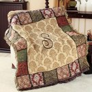 "New 50"" x 60"" Elegant Acrylic Monogramed "" S "" Tapestry Throw"