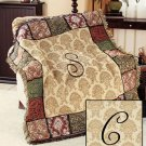 "New 50"" x 60"" Elegant Acrylic Monogramed "" C "" Tapestry Throw"