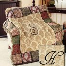 "New 50"" x 60"" Elegant Acrylic Monogramed "" H "" Tapestry Throw"