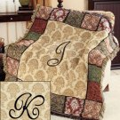 "New 50"" x 60"" Elegant Acrylic Monogramed "" K "" Tapestry Throw"