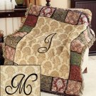 "New 50"" x 60"" Elegant Acrylic Monogramed "" M "" Tapestry Throw"