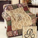 "New 50"" x 60"" Elegant Acrylic Monogramed "" R "" Tapestry Throw"