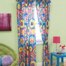 New 4-Pc. Polyester Peace Sign Curtain Set 2 Panels & 2 Tie-backs