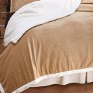 "New Full / Queen 86"" sq. Tan Fireside Plush Blanket"