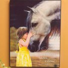 "First Love Girl Kisses Horse Wall Art 12"" x 16"" Texturized Wooden Plaque"