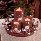 New 5-Pc. Holiday Christmas Snowman Candleholder Set