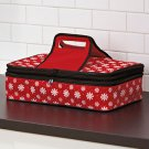 New Red Snowflake Christmas Holiday Expandable Hot / Cold Food Carrier