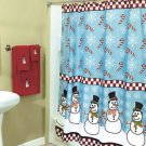 New Snowman and Candy Cane Party Bathroom Shower Curtain